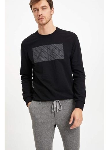 DeFacto Baskılı Sweatshirt Siyah